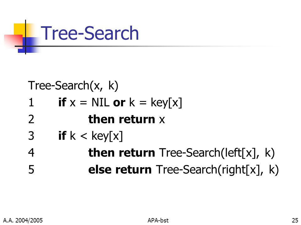Tree-Search Tree-Search(x, k) 1 if x = NIL or k = key[x]